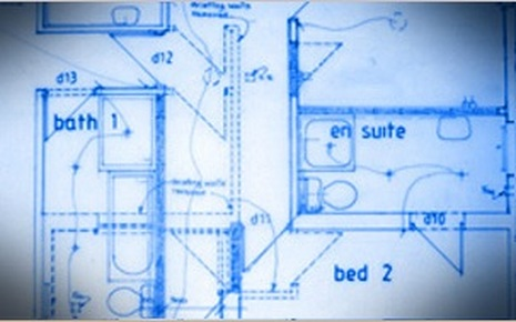 Hand drawn architectural plans